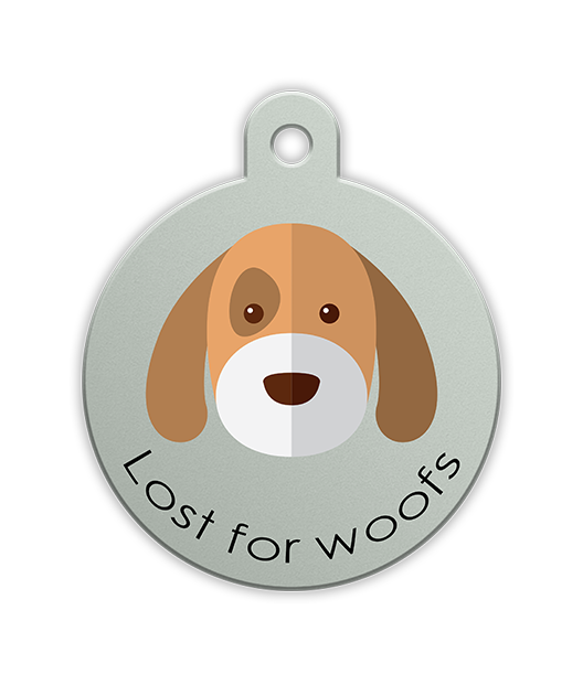 Lost for Woofs Petfetch pet tag - PetfetchID - Fun Pet Tags